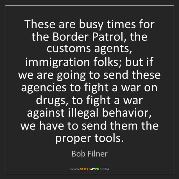 Bob Filner: These are busy times for the Border Patrol, the customs...