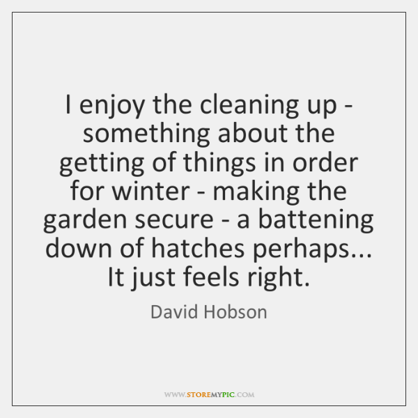 I enjoy the cleaning up - something about the getting of things ...