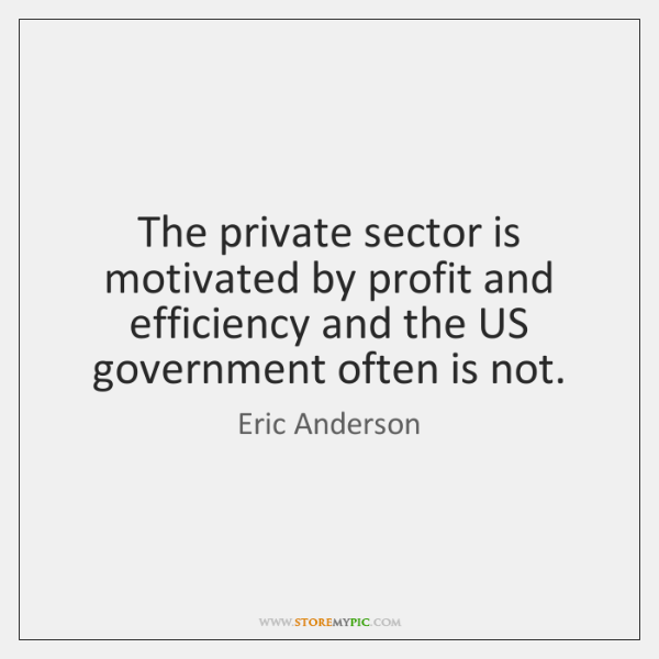 The private sector is motivated by profit and efficiency and the US ...