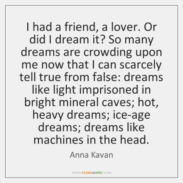 I had a friend, a lover. Or did I dream it? So ...