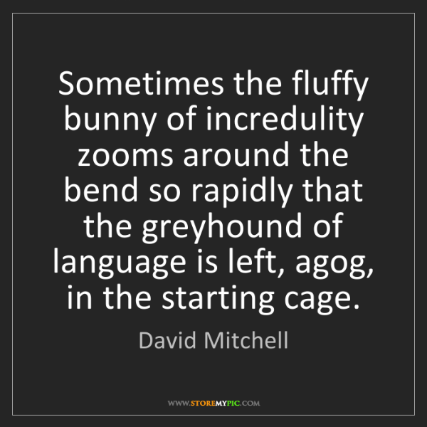 David Mitchell: Sometimes the fluffy bunny of incredulity zooms around...