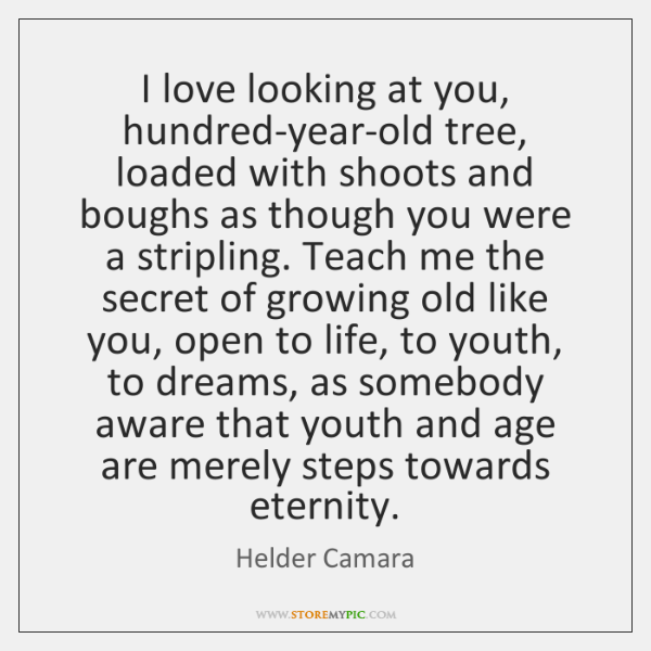 I love looking at you, hundred-year-old tree, loaded with shoots and boughs ...