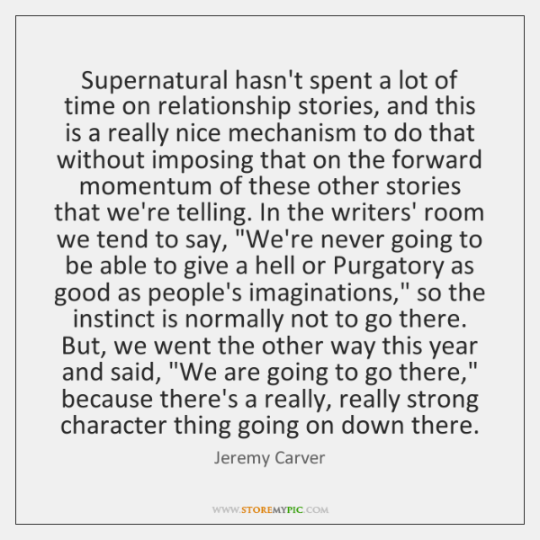 Supernatural hasn't spent a lot of time on relationship stories, and this ...