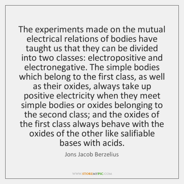 The experiments made on the mutual electrical relations of bodies have taught ...
