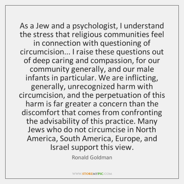 As a Jew and a psychologist, I understand the stress that religious ...