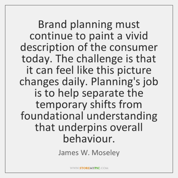 Brand planning must continue to paint a vivid description of the consumer ...