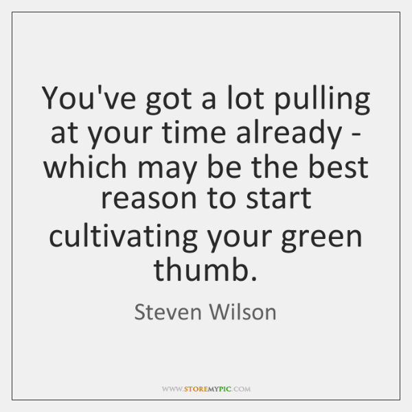 You've got a lot pulling at your time already - which may ...