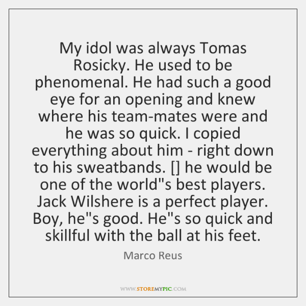 My idol was always Tomas Rosicky. He used to be phenomenal. He ...