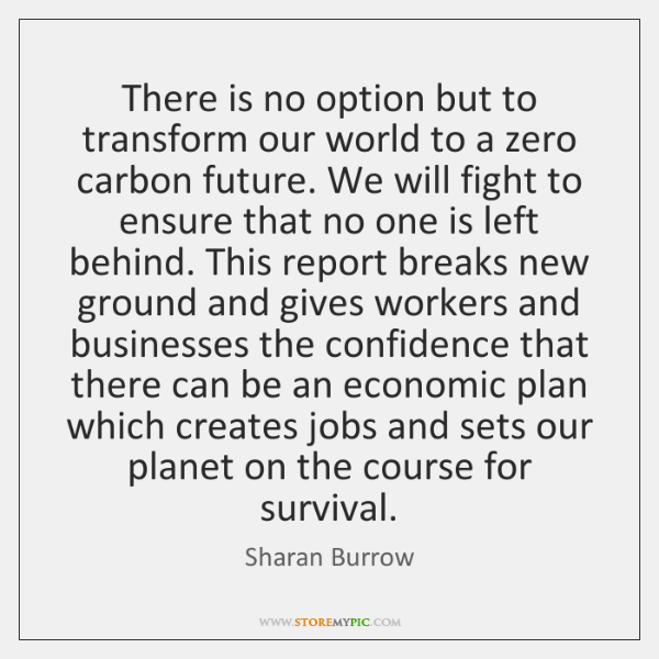 There is no option but to transform our world to a zero ...