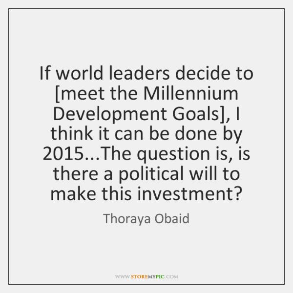 If world leaders decide to [meet the Millennium Development Goals], I think ...