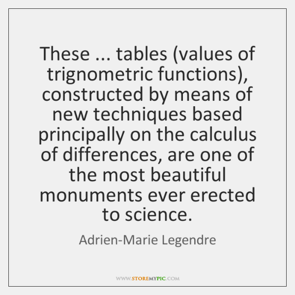 These ... tables (values of trignometric functions), constructed by means of new techniques ...