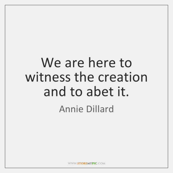 We are here to witness the creation and to abet it.