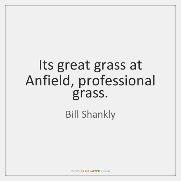 Its great grass at Anfield, professional grass.