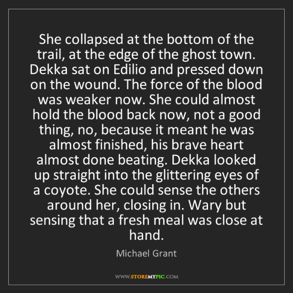 Michael  Grant: She collapsed at the bottom of the trail, at the edge...