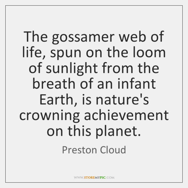 The gossamer web of life, spun on the loom of sunlight from ...
