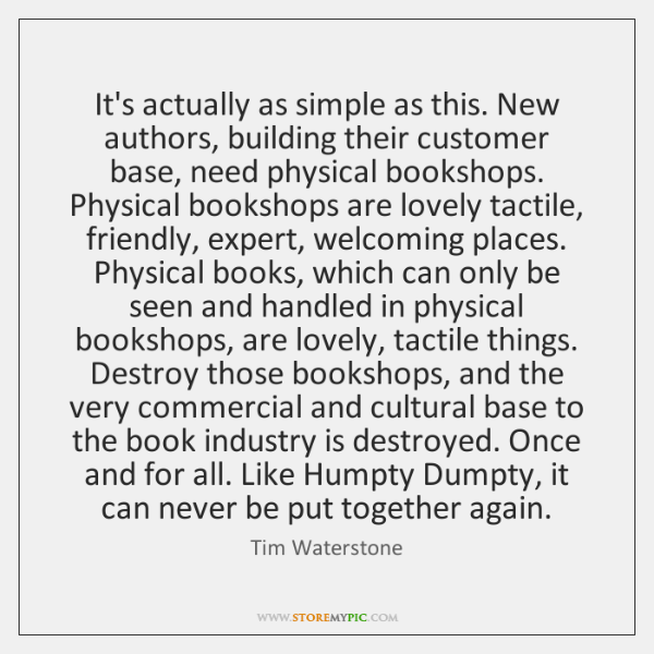 It's actually as simple as this. New authors, building their customer base, ...