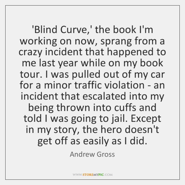 'Blind Curve,' the book I'm working on now, sprang from a ...