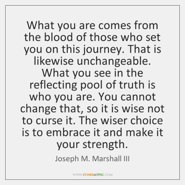 What you are comes from the blood of those who set you ...
