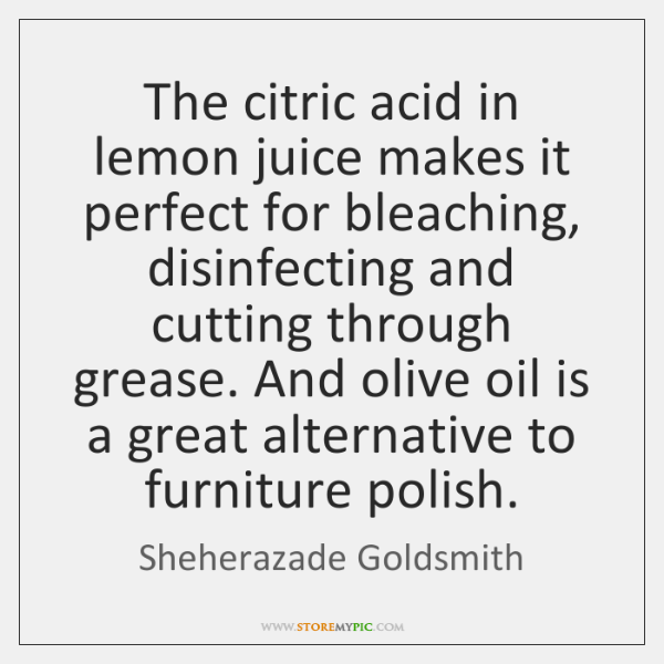 The citric acid in lemon juice makes it perfect for bleaching, disinfecting ...