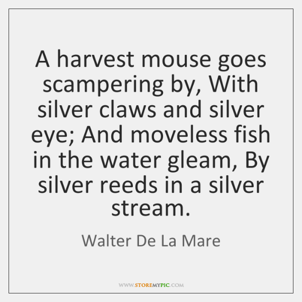A Harvest Mouse Goes Scampering By With Silver Claws And Silver Eye