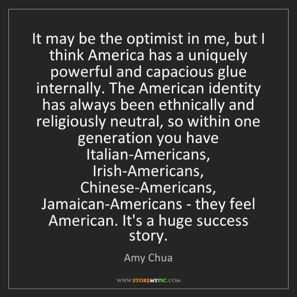 Amy Chua: It may be the optimist in me, but I think America has...