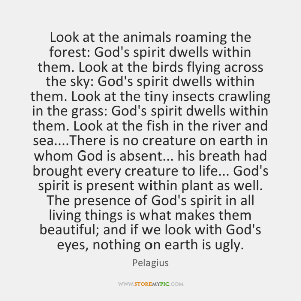 Look at the animals roaming the forest: God's spirit dwells within them. ...