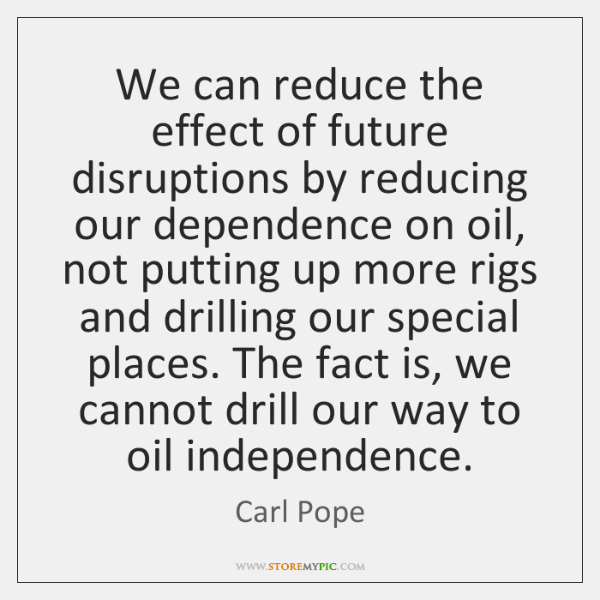 We can reduce the effect of future disruptions by reducing our dependence ...