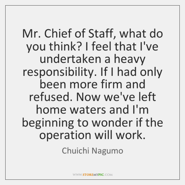 Mr. Chief of Staff, what do you think? I feel that I've ...