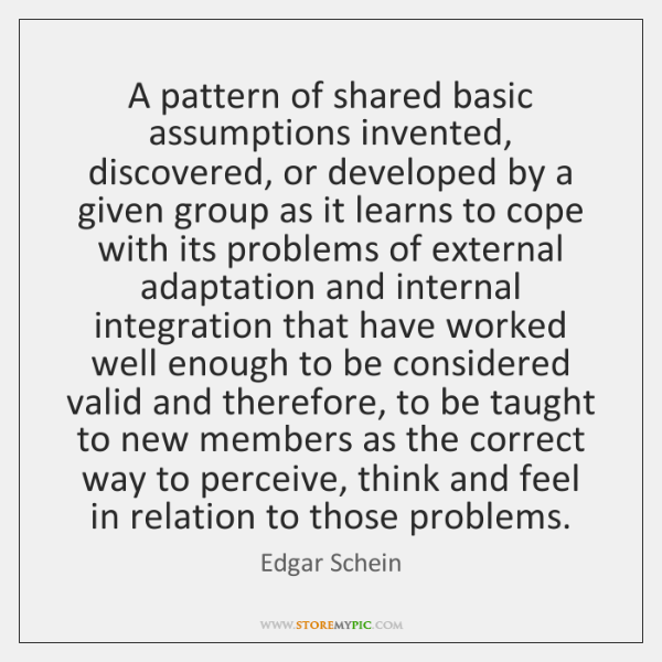 A pattern of shared basic assumptions invented, discovered, or developed by a ...