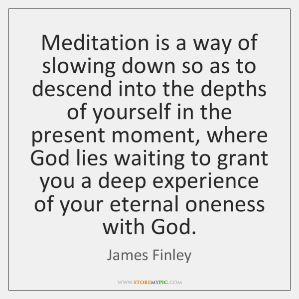 Meditation is a way of slowing down so as to descend into ...