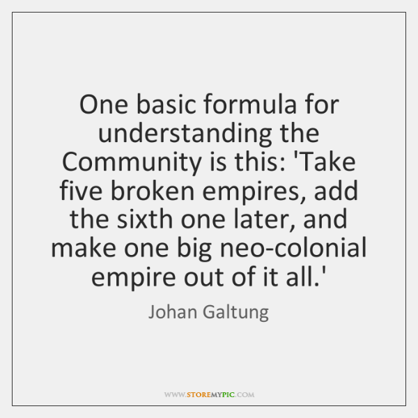 One basic formula for understanding the Community is this: 'Take five broken ...