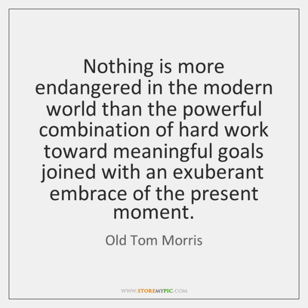 Nothing is more endangered in the modern world than the powerful combination ...