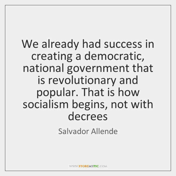 We already had success in creating a democratic, national government that is ...