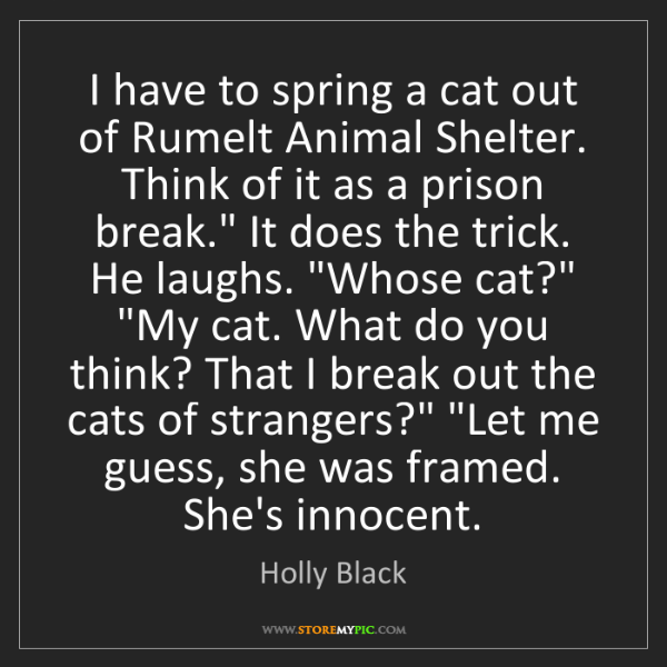 Holly Black: I have to spring a cat out of Rumelt Animal Shelter....