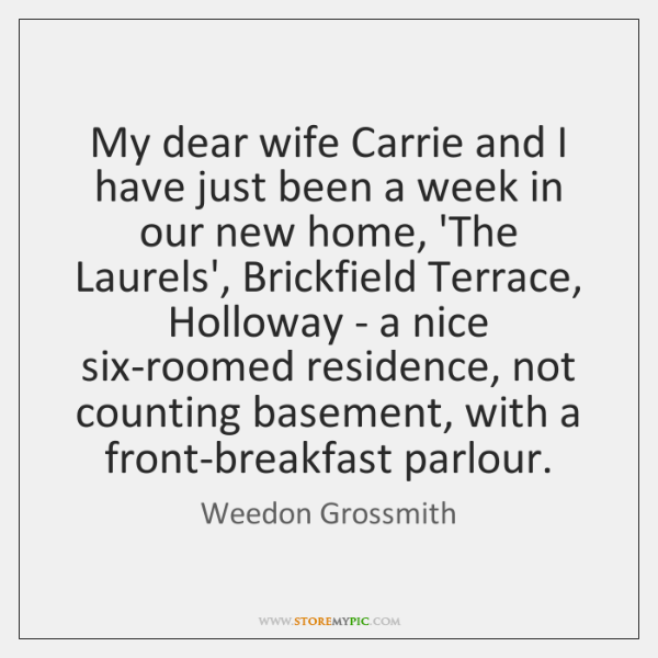 My dear wife Carrie and I have just been a week in ...