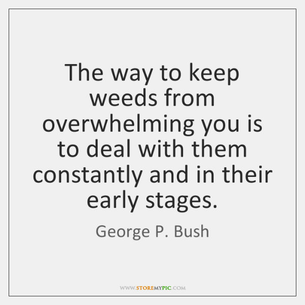 The way to keep weeds from overwhelming you is to deal with ...