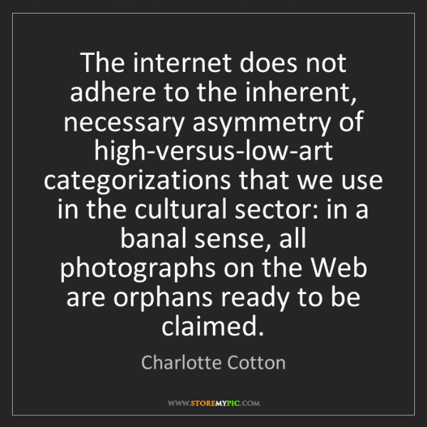 Charlotte Cotton: The internet does not adhere to the inherent, necessary...