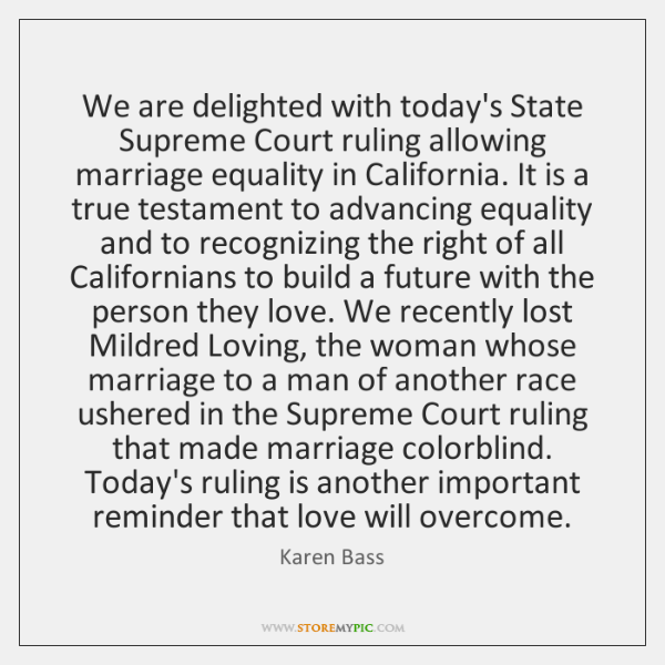 We are delighted with today's State Supreme Court ruling allowing marriage equality ...