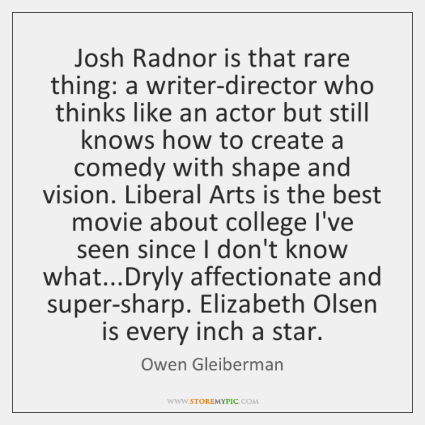 Josh Radnor is that rare thing: a writer-director who thinks like an ...