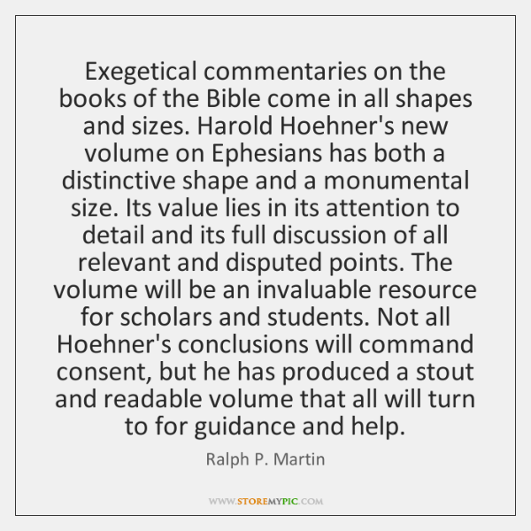 Exegetical commentaries on the books of the Bible come in all shapes ...