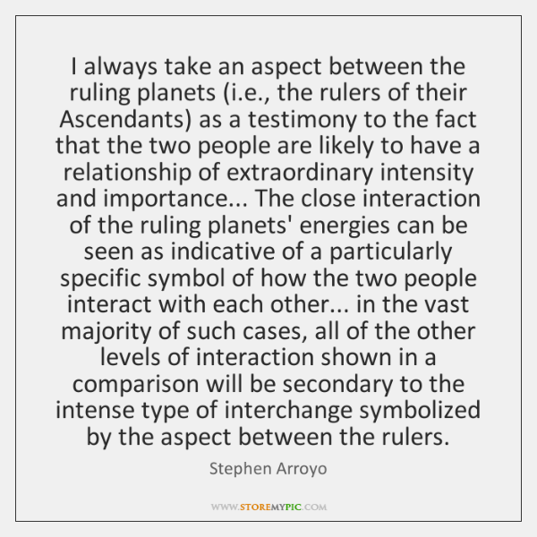 I always take an aspect between the ruling planets (i.e., the ...