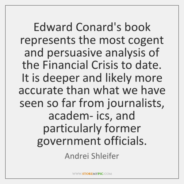 Edward Conard's book represents the most cogent and persuasive analysis of the ...