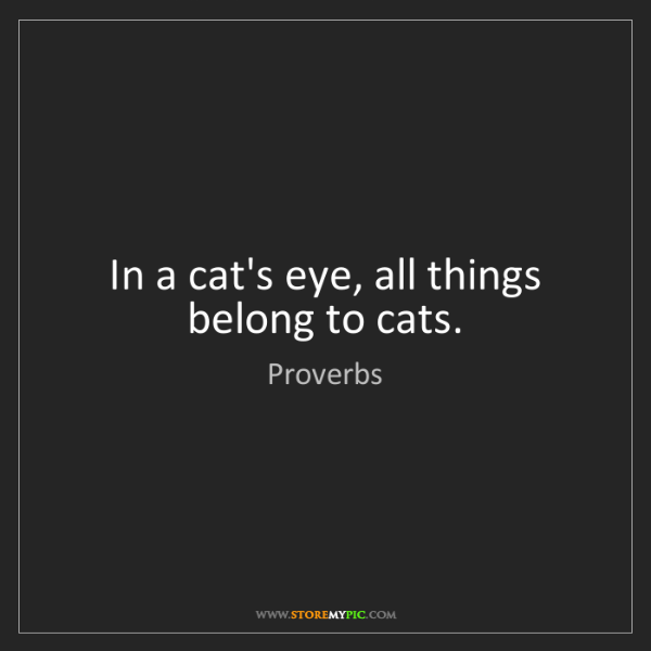 Proverbs: In a cat's eye, all things belong to cats.