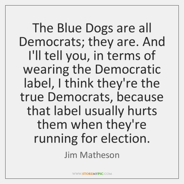 The Blue Dogs are all Democrats; they are. And I'll tell you, ...