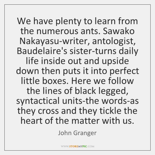 We have plenty to learn from the numerous ants. Sawako Nakayasu-writer, antologist, ...