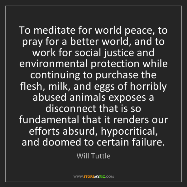 Will Tuttle: To meditate for world peace, to pray for a better world,...