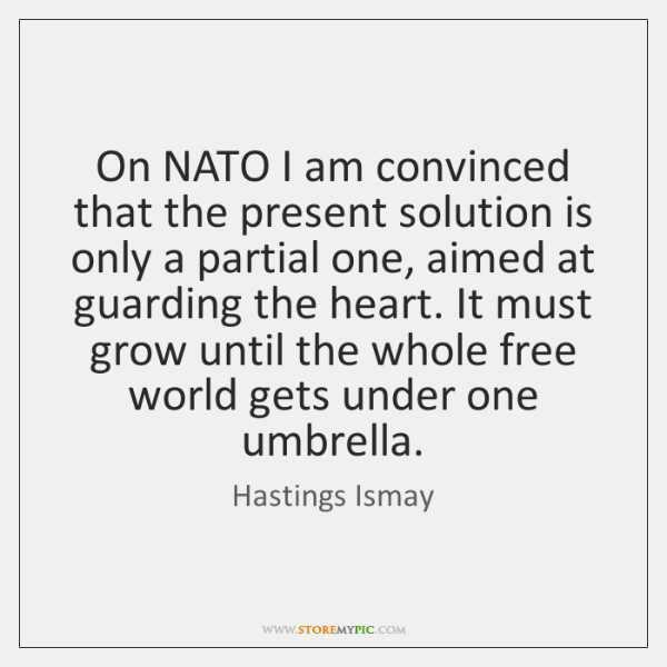 On NATO I am convinced that the present solution is only a ...