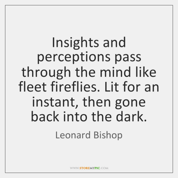 Insights and perceptions pass through the mind like fleet fireflies. Lit for ...