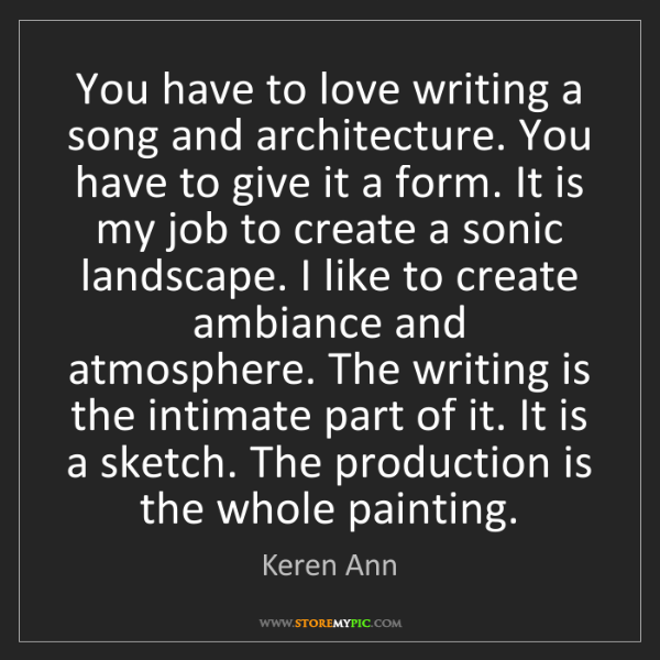Keren Ann: You have to love writing a song and architecture. You...