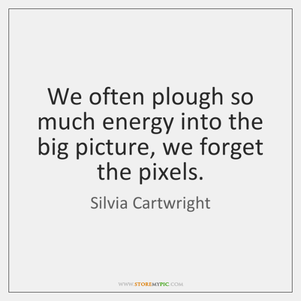 We often plough so much energy into the big picture, we forget ...
